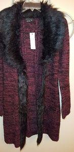 BCBG faux fur collar cardigan!